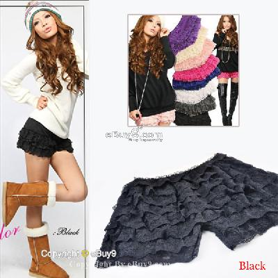 Women Girls Black Sexy Lace Pleated Safety Short Mini Cake Skirt Pants Qun3w-Black